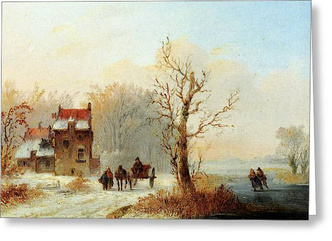 Stok Jacobus Van Der A Winter Landscape With Skaters On A Frozen Waterway And A Horse Drawn Cart Greeting Card