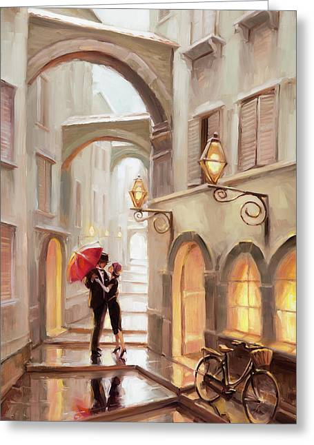 Stolen Kiss Greeting Card by Steve Henderson