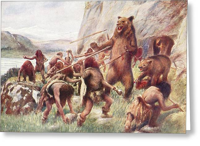 Stone Age Man Hunting Wild Bears. After Greeting Card