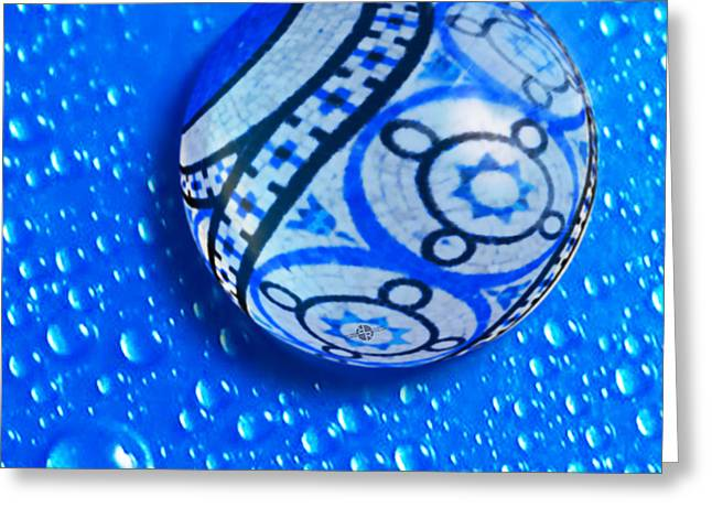 Stone And Water Orb Abstract Greeting Card by Tony Rubino