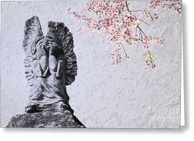 Stone Angel Under Cherry Blossoms Greeting Card by Charline Xia