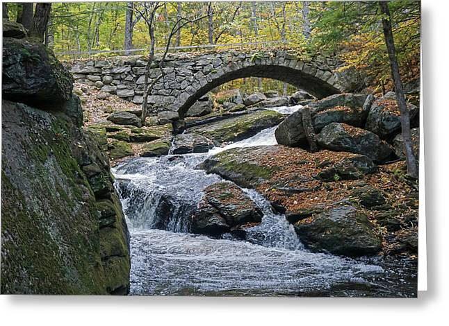 Greeting Card featuring the photograph Stone Arch Bridge In Autumn by Wayne Marshall Chase