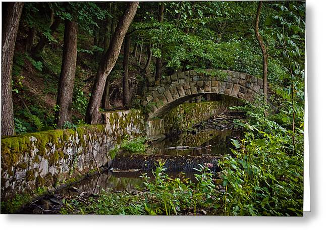 Stone Arch Bridge Path And Flowing Creek Stream In Lush Forest Countryside Landscape Greeting Card by Aaron Sheinbein