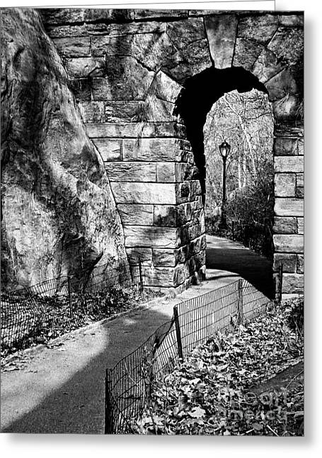 Stone Arch In The Ramble Of Central Park - Bw Greeting Card by James Aiken