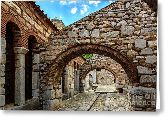 Stone Arches And Walkway At Monastery Of Hosios Loukas In Greece Greeting Card