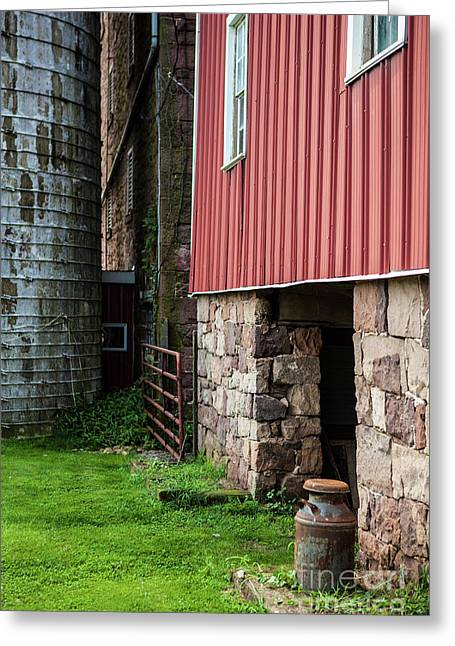 Stone Barn With Milk Can Greeting Card