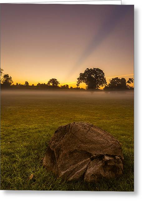 Stone Before A Misty Meadow Greeting Card by Chris Bordeleau