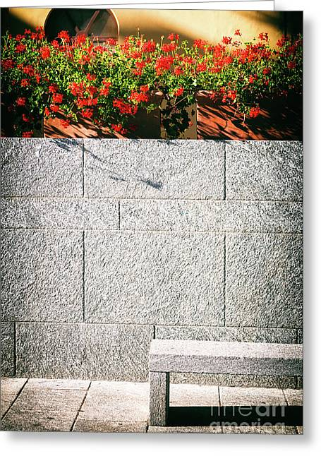 Greeting Card featuring the photograph Stone Bench With Flowers by Silvia Ganora