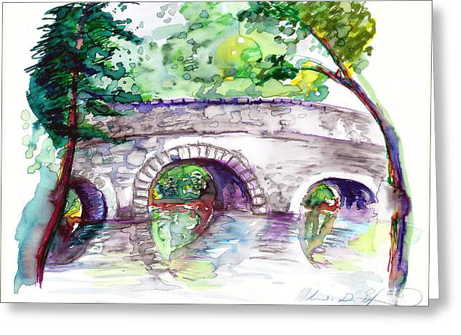 Stone Bridge In Early Autumn Greeting Card by Melinda Dare Benfield