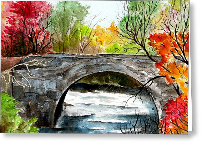 Stone Bridge In Maine  Greeting Card