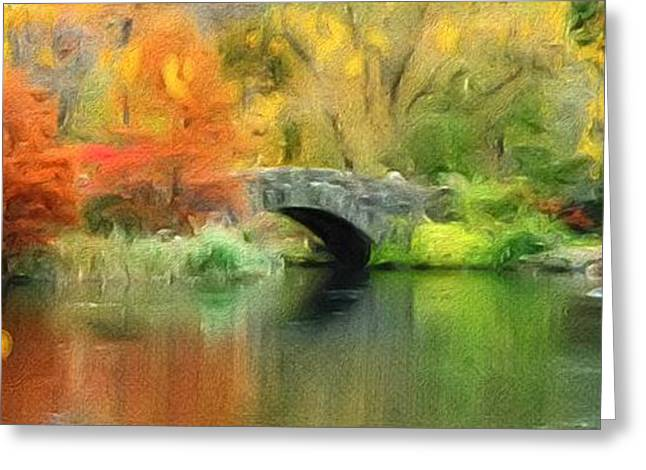 Stone Bridge On An Autumn Day Greeting Card by Amy Cicconi