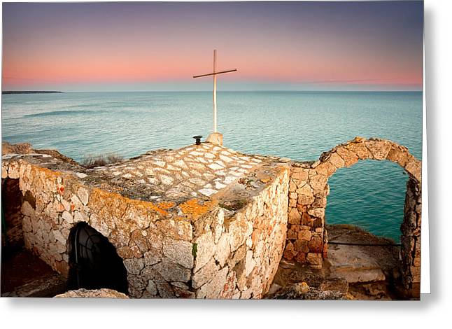 Stone Chapel Greeting Card by Evgeni Dinev