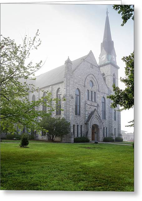 Stone Chapel In Fog Greeting Card