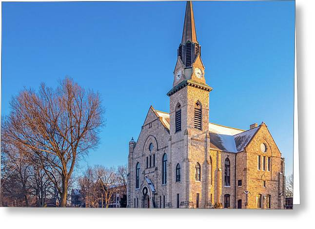Stone Chapel In Winter Greeting Card
