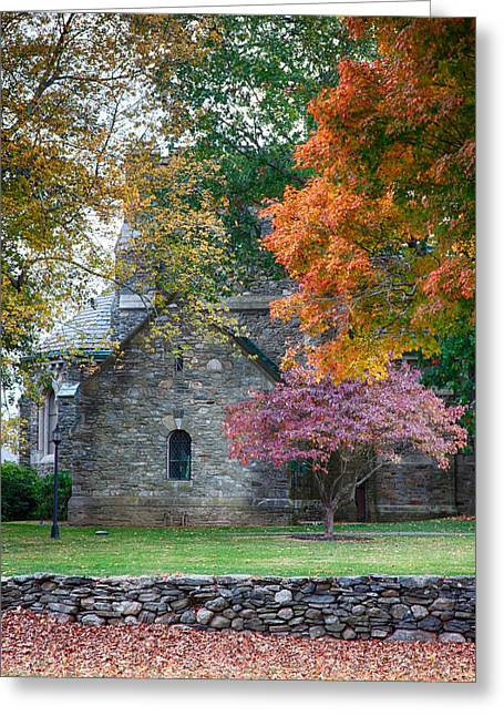 Stone Church In Pomfret Ct In Autumn Greeting Card