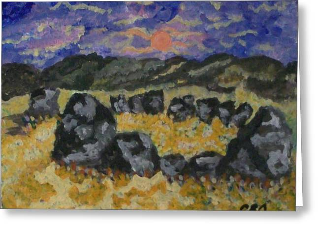 Greeting Card featuring the painting Stone Circle by Carolyn Cable