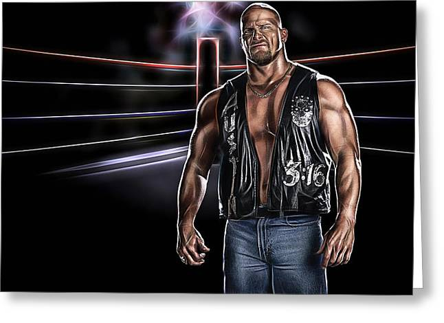 Stone Cold Steve Austin Wrestling Collection Greeting Card by Marvin Blaine