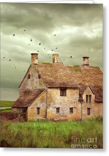 Stone Cottage And Stormy Sky Greeting Card by Jill Battaglia