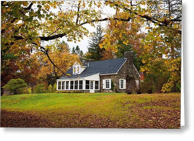 Stone Cottage In The Fall Greeting Card by Kenneth Cole