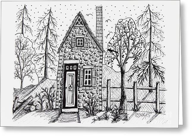 Stone Cottage Greeting Card by Karla Gerard