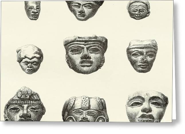 Stone Heads And Masks Found At Teotihuacan, Mexico Greeting Card