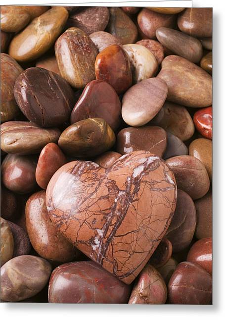 Concept Photographs Greeting Cards - Stone heart Greeting Card by Garry Gay