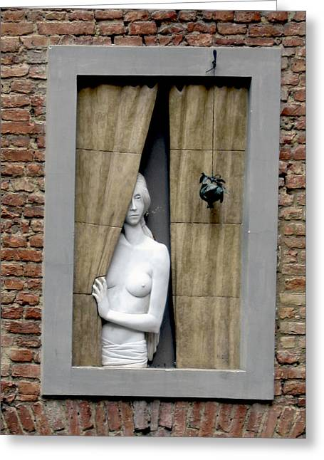 Stone Hearted Woman Peaking Out Of Window Greeting Card by Michael Riley