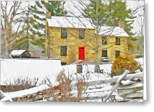 Stone House At The Oliver Miller Homestead In Winter Greeting Card