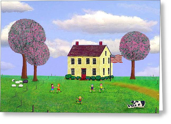 Stone House In Spring Greeting Card by Paul Little