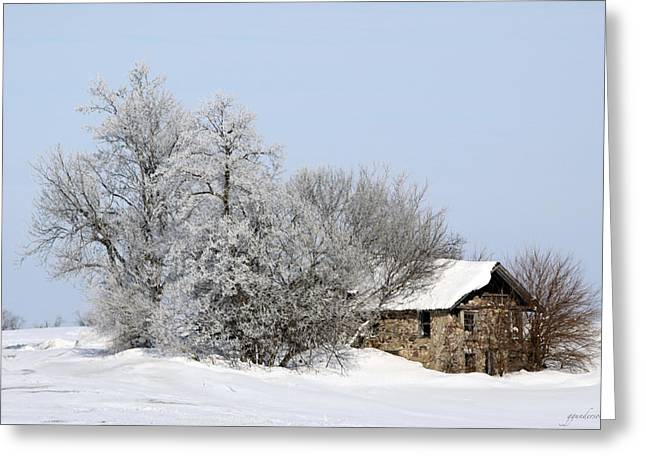 Stone House In Winter Greeting Card by Gary Gunderson