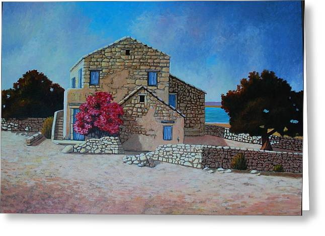 Stone House On The Beach Greeting Card by Santo De Vita