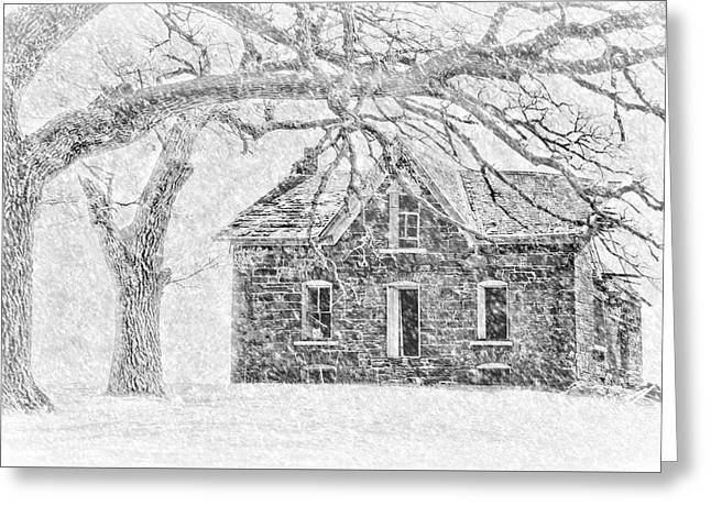Stone House - Winter Greeting Card