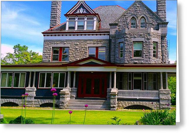 Greeting Card featuring the photograph Stone Mansion Garden by Becky Lupe