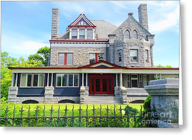 Greeting Card featuring the photograph Stone Mansion Red Doors by Becky Lupe