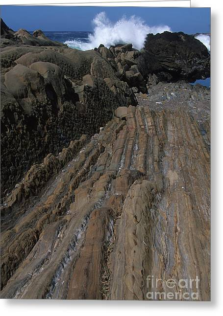 Stone Meets The Sea Greeting Card by Stan and Anne Foster