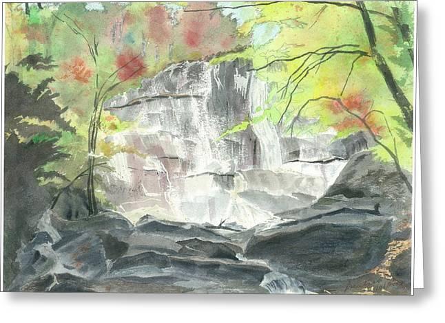 Stone Mountain Falls - The Upper Cascade - IIi - Autumn Greeting Card