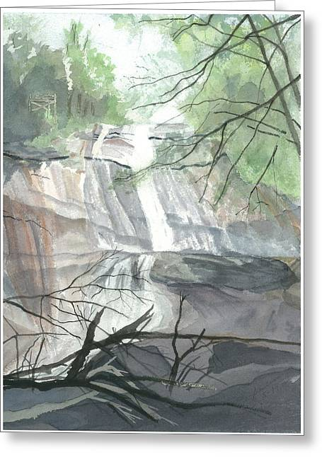 Greeting Card featuring the painting Stone Mountain Falls - The Upper Cascade by Joel Deutsch