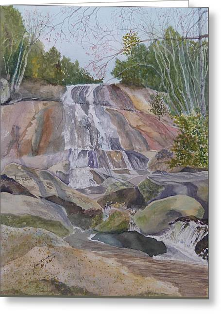 Greeting Card featuring the painting Stone Mountain Falls April 2013 by Joel Deutsch