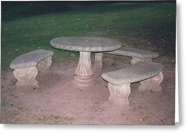 Stone Picnic Table And Benches Greeting Card