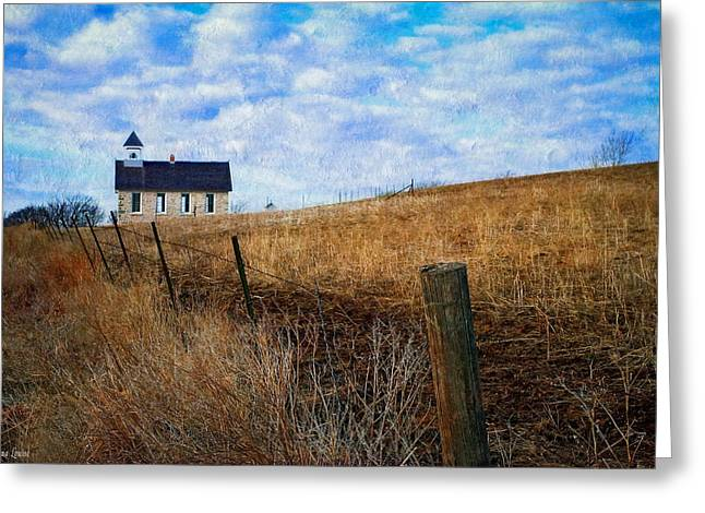 Stone Schoolhouse On The Kansas Prairie Greeting Card