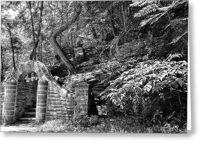 Stone Stairway Along The Wissahickon Creek In Black And White Greeting Card by Bill Cannon