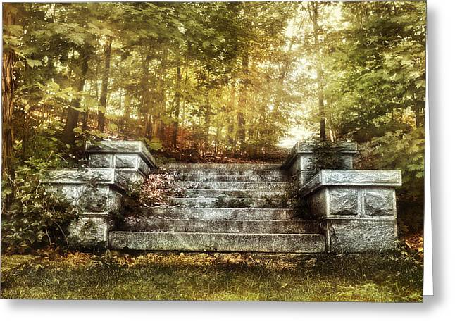 Stairways Greeting Cards - Stone Stairway Greeting Card by HD Connelly
