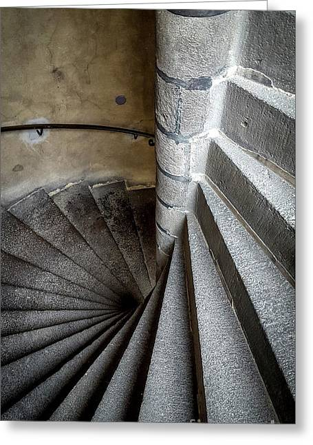 Stone Stairway In Old Building Greeting Card