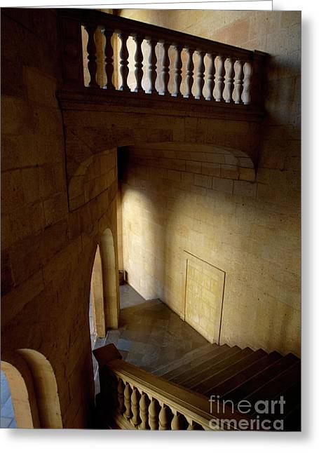 Stone Stairwell Inside The Historic Palace Of Charles V At Alhambra Greeting Card