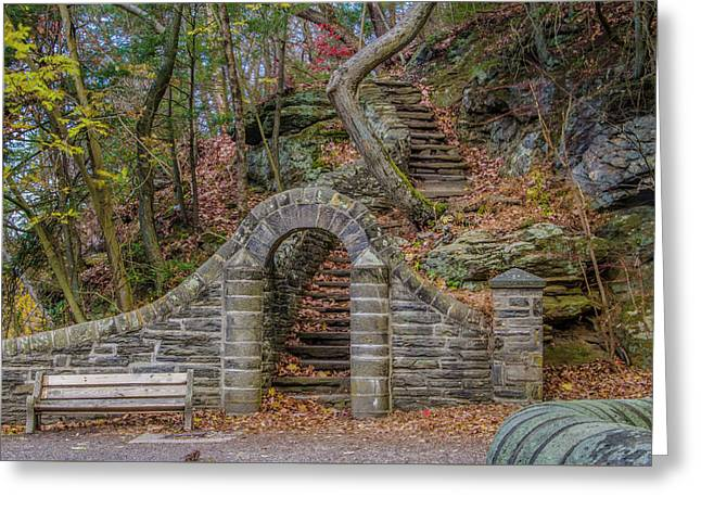 Stone Steps At Rex Avenue In Autumn Greeting Card by Bill Cannon