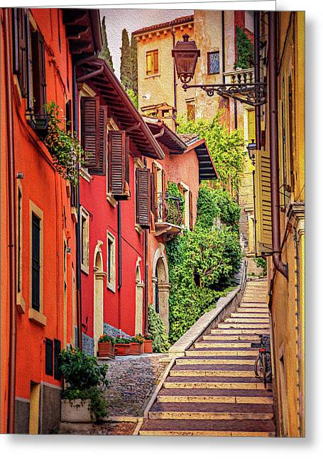 Stone Steps In Verona Italy  Greeting Card