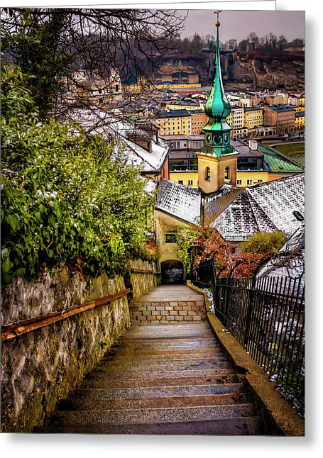 Stone Steps Of Kapuzinerberg Salzburg In Winter Greeting Card by Carol Japp