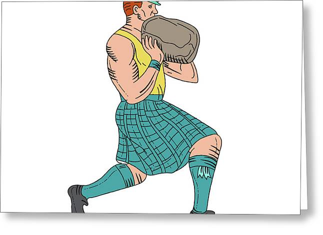 Stone Throw Highland Games Athlete Drawing Greeting Card