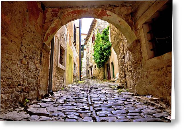 Stone Town Of Groznjan Old Street  Greeting Card by Brch Photography