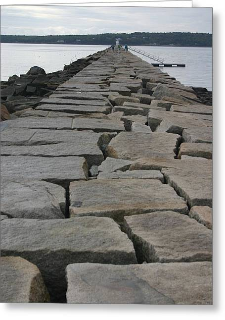 Stone Walk To Light House Greeting Card by Dennis Curry